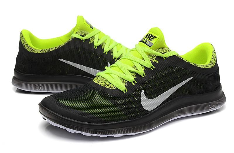 ... Mens Nike Free Run 3.0 V6 Black Fluorescent Green Running Shoes ...