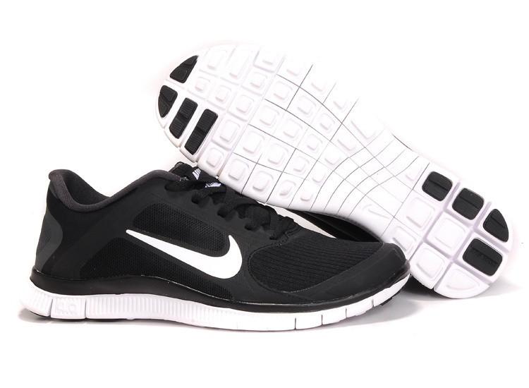 buy popular f8cb4 480f7 Mens Nike Free Run 4.0 V3 Black White Running Shoes