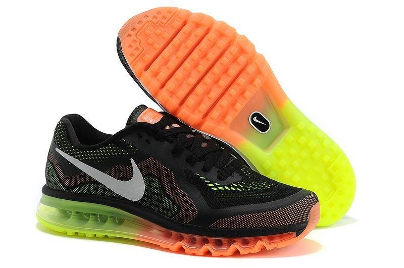 new product 00e3d d61fd Nike Air Max 2014 Mens Running Shoes Black Sail Atomic Orange Volt