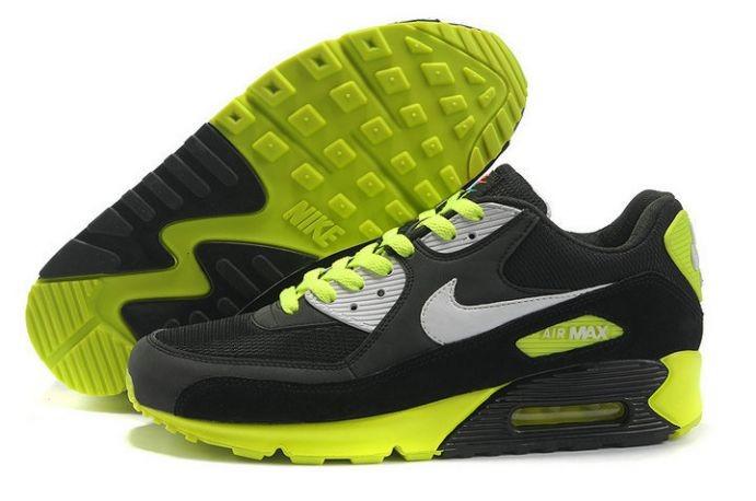 free shipping 37f6f 49e2e Nike Air Max 90 Essential Mens Trainers Black Grey Volt