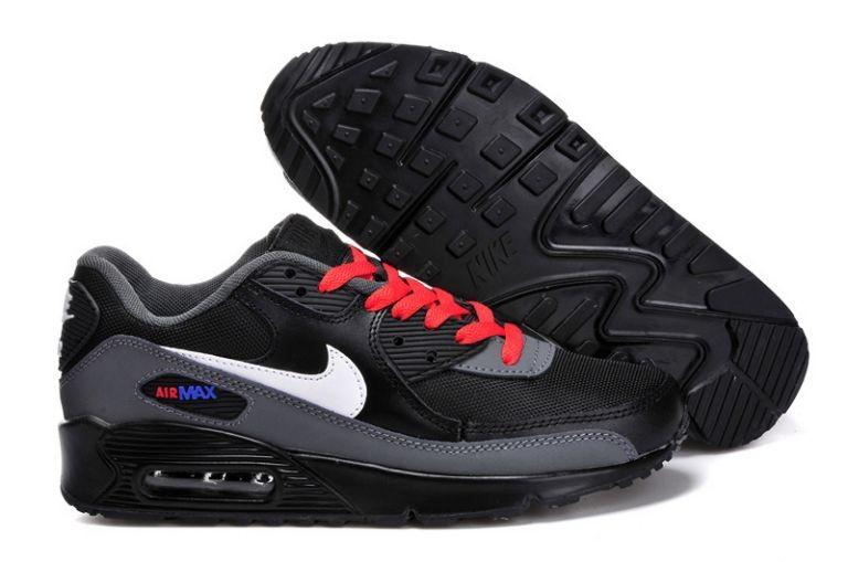 7e31b24975ab2 Nike Air Max 90 Essential Mens Trainers Black White Grey Red  nike04 ...