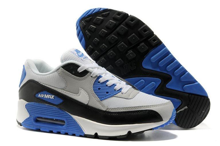 505741c181 Nike Air Max 90 Essential Mens Trainers Sport Grey White Black Photo Blue