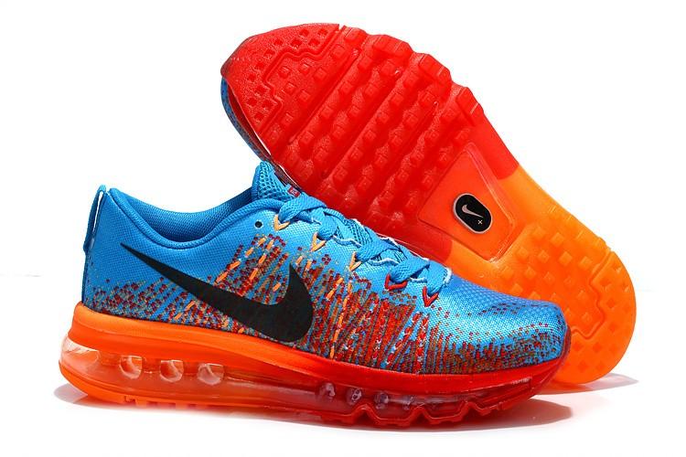 495be6e81495 Nike Flyknit Air Max Mens Running Shoes Blue Black Orange  nike04 ...
