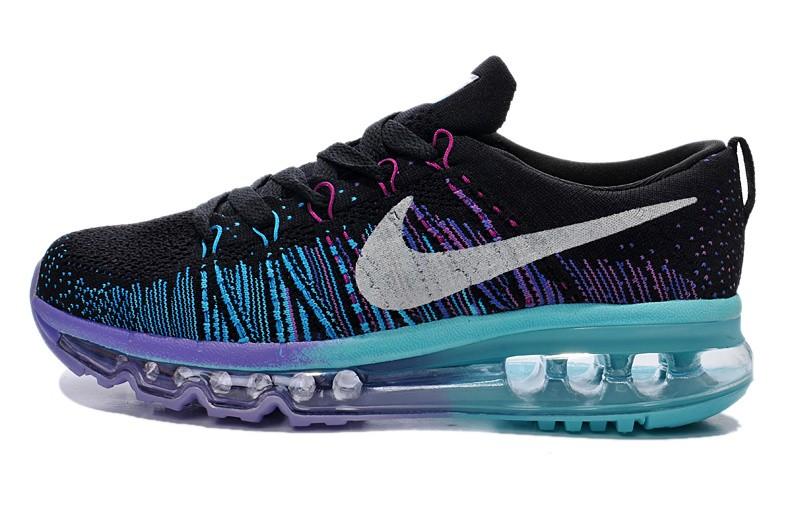 purchase cheap 4bb9e ec1e6 ... Nike Flyknit Air Max Womens Running Shoes Black Blue Purple ...
