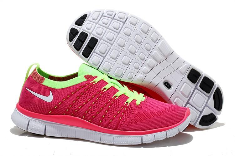 04e98e103708 Nike Free 5.0 Flyknit Womens Running Shoes Pink Fluorescent Green White