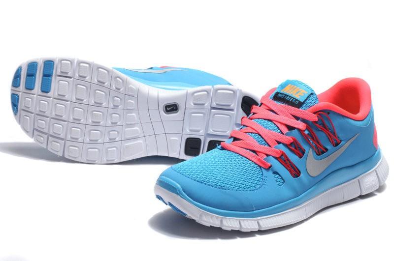 pretty nice ff17c daae6 ... Nike Free 5.0 Womens Sky Blue Red Running Shoes ...