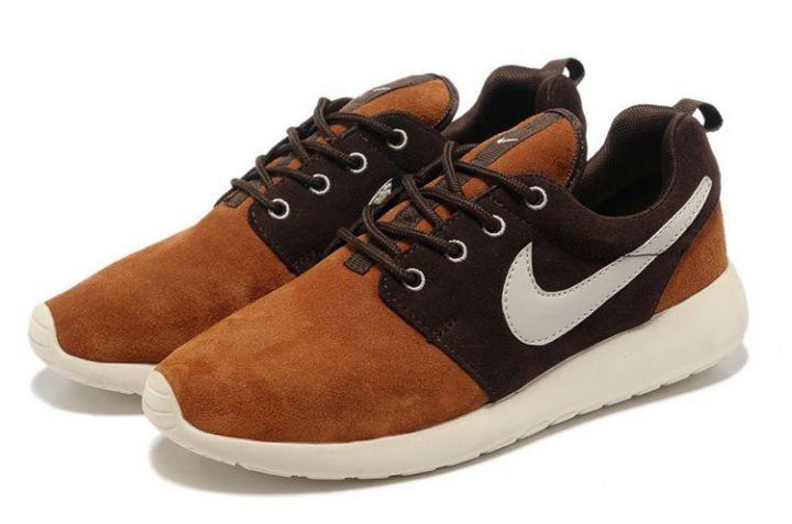 8ca4f34a91da Nike Roshe Run Mens Running Shoes Brown White  nike04-0753  -  48.35 ...