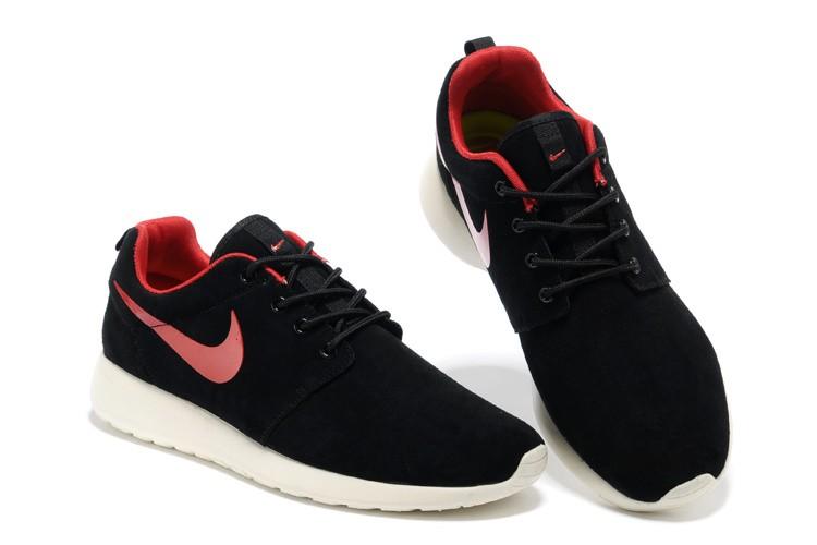 reputable site cc6d3 b6b37 ... Nike Roshe Run Mens Running Shoes Premium Black Alarm Red Sail White ...