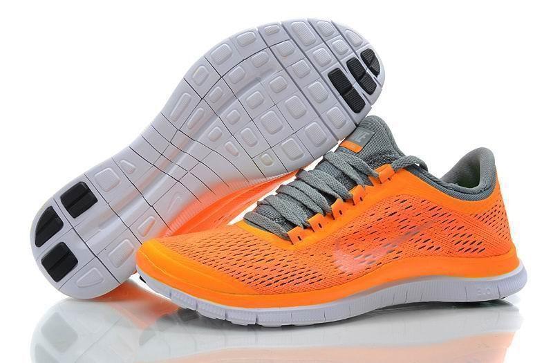 the best attitude f4ba0 fb721 Womens Nike Free 3.0 V5 Orange Grey Running Shoes