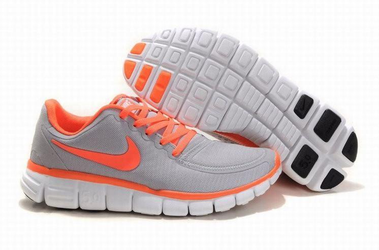 buy online e1057 36676 Womens Nike Free 5.0 V4 Grey Orange Running Shoes