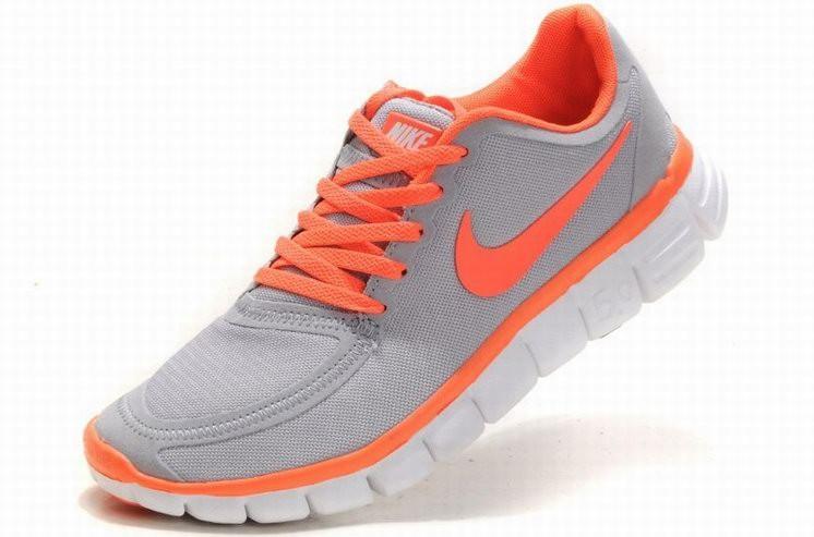 wholesale dealer f6d30 22bcc ... Womens Nike Free 5.0 V4 Grey Orange Running Shoes ...