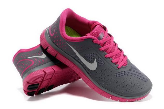 new style 3df8e 4dba8 ... Womens Nike Free Run 4.0 V2 Dark Grey Pink Running Shoes ...